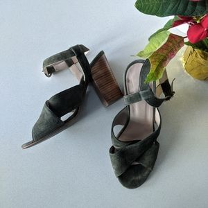 Green chunky heeled sandal